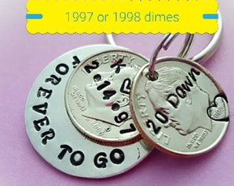 20 Years Down Forever To Go Anniversary Gift 20th anniversary  keychain 1997 1998 Dimes for Him Her husband wife i still do