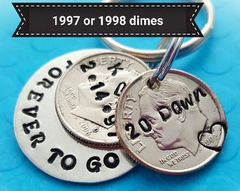 20 year anniversary keychain, anniversary for men, husband gift, 20th anniversary, couples gift,  lucky us, personalized 20 year dimes