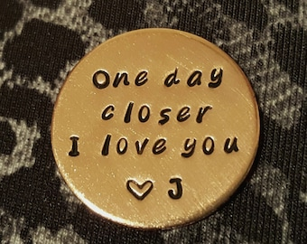 One Day Closer Pocket Coin Deployment Gift Military Challenge For Husband