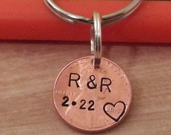 Personalized 7 Year Anniversary Keychain, Stamped Penny, husband Gift, Couples Gift, 1st Anniversary, Gift for Him/Her, Anniversary