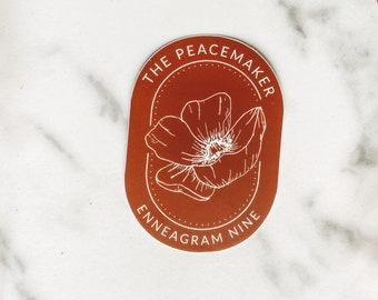 Enneagram Nine floral sticker, geometric floral sticker