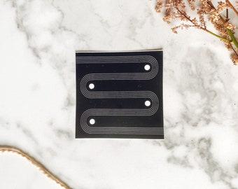 Enneagram Nine mid mod sticker, geometric vinyl sticker, wood block art sticker