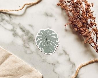 Monstera leaf Sticker, monstera Plant Sticker, House Plant Sticker, Weatherproof Die Cut Vinyl Sticker for laptop