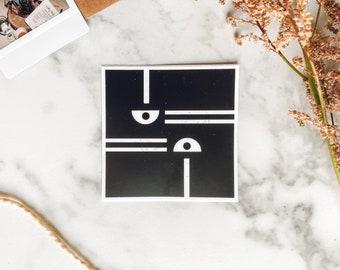 Enneagram Eight mid mod sticker, geometric vinyl sticker, wood block art sticker