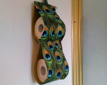 Beau Peacock Feather Toilet Paper Holder, Fabric Spare Roll Hanging Storage,  Bathroom Decor, Peacock Themed Housewarming Gift, Loo Roll Holder