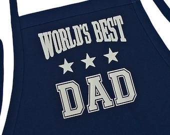 World's Best Dad Aprons For Men, Fully Adjustable With Pockets And Extra Long Ties, Perfect BBQ Gift Idea And Father's Day Present