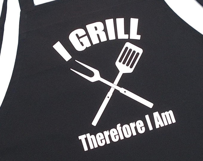 I Grill Therefore I Am Funny BBQ Aprons, Black, Extra Long Ties, Grilling Apron Gift Idea