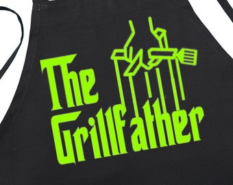 Funny Black Aprons The Grillfather BBQ Apron For Him, Unique Gift Idea