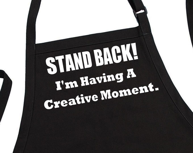Funny Cooking Apron Stand Back Novelty Kitchen Black Aprons For Women And Men