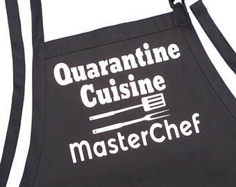 Quarantine Cuisine MasterChef Funny Black Kitchen Apron, Two Large Pockets And Extra Long Ties