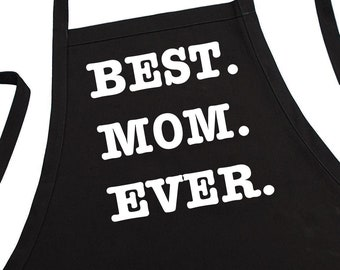 BEST MOM EVER Aprons For Women, Fully Adjustable, Two Pockets, Extra Long Ties