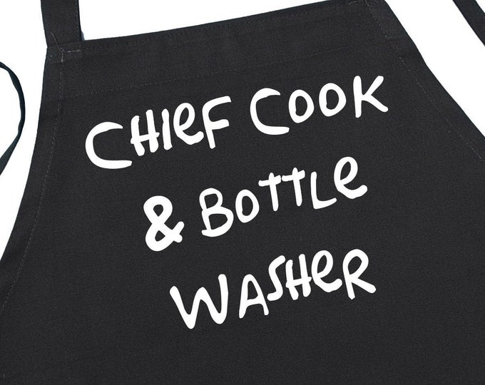 Funny Kitchen Aprons For Cooking Chief Cook And Bottle Washer, Black Chef Apron With Extra Long Ties