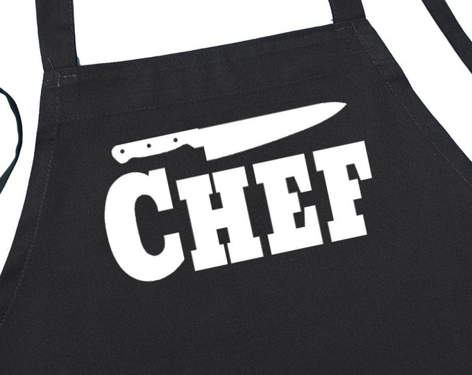 Black Chef Aprons For Men And Women, BBQ Grilling Aprons With Extra Long Ties