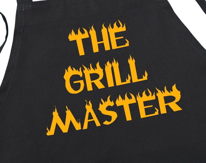 Black Barbecue Apron The Grill Master Novelty Gift Ideas For Men, Grilling Gift Idea, Extra Long Ties