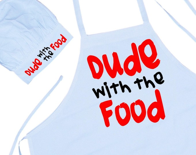 Funny Apron And Chef Hat Set Dude With The Food Chef Wear For Men, Cooking Aprons And Toques