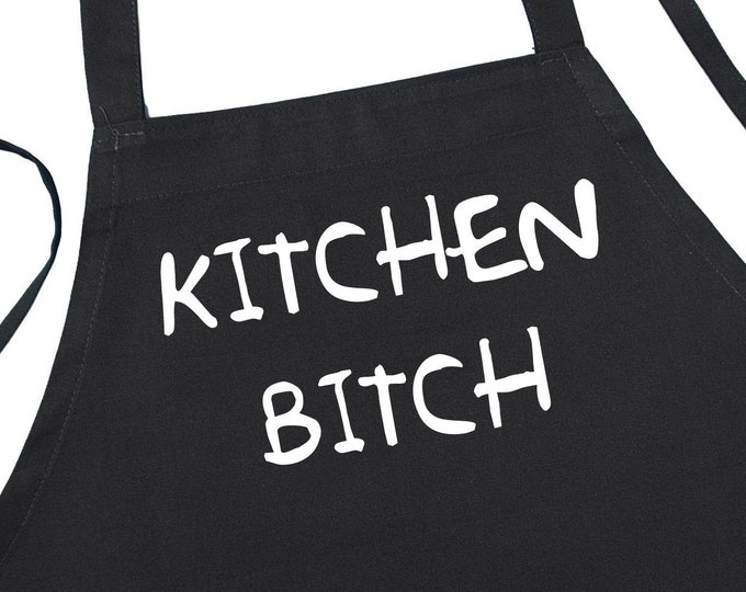 Funny Cooking Aprons Kitchen Bitch Adults Black Apron, Novelty Barbecue Chef Aprons