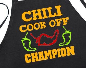 Chili Cook Off Champion Black Kitchen Aprons, Chili Cook Off Prize Idea