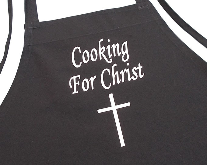Christian Black Kitchen Apron Cooking For Christ Church Aprons, Evangelical Chef Apron