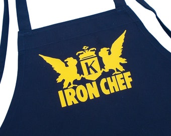 Black Cooking Apron Iron Chef Novelty Kitchen Aprons For Men And Women