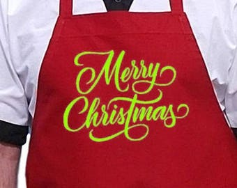 Red Apron Merry Christmas Holiday Aprons For Your Kitchen