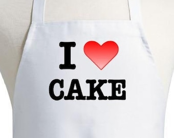 Cute Kitchen Apron I Love Cake White Bib Cooking Aprons