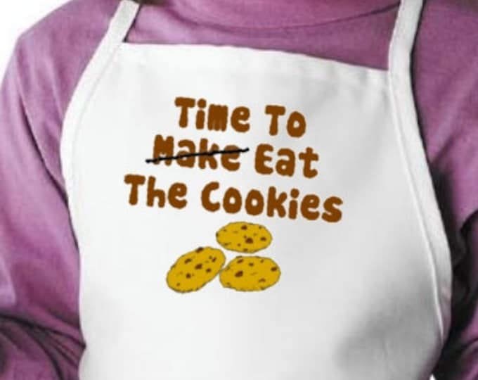 Child Apron Time To Make - Eat The Cookies For Kids Baking, Children's Cooking Apron