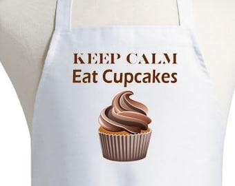 Baking Aprons Keep Calm Eat Cupcakes White Cooking Apron