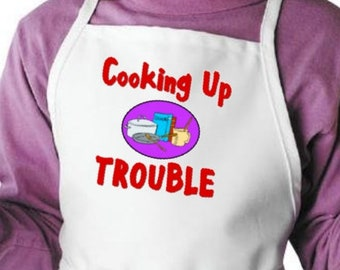 Cooking Up Trouble Cute Children's Apron For Child Cooks, Kids Kitchen Aprons