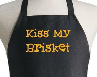 Black Kitchen Aprons Kiss My Brisket Funny Grilling Apron