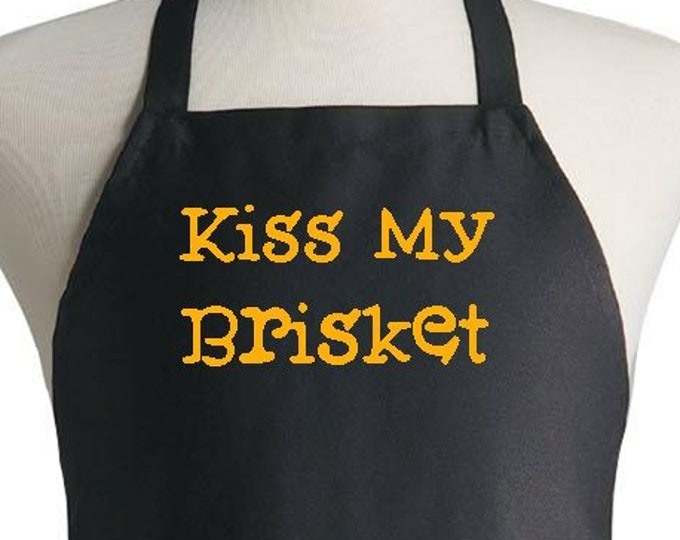 Black Kitchen Aprons Kiss My Brisket Funny Grilling Apron