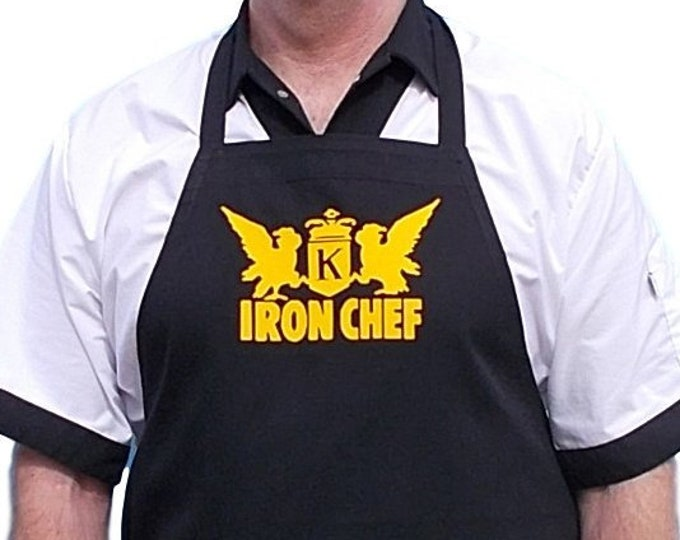 Black Cooking Apron Iron Chef Novelty Kitchen Aprons