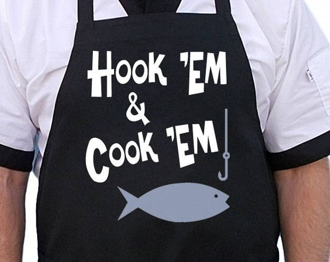 Unique Fishing Gift Hook'em and Cook'em Funny Black Aprons, BBQ Chef Aprons