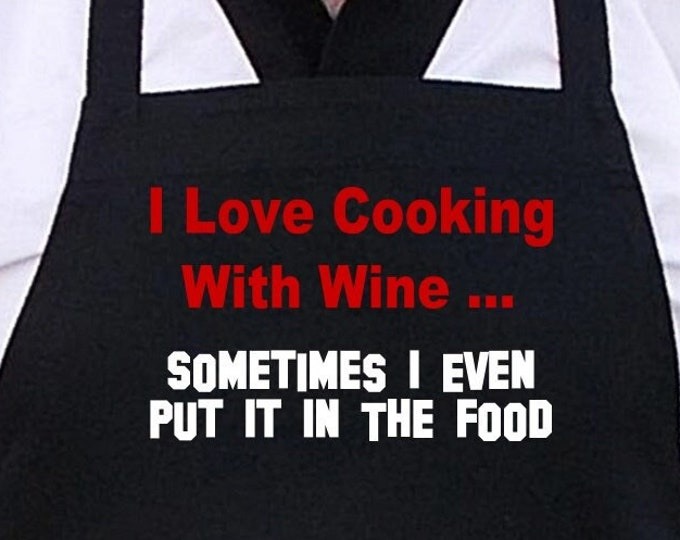 Funny Wine Humor Sayings Black Apron I Love Cooking With Wine