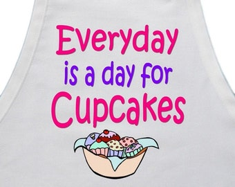 Cute Baking Apron Everyday Is A Day For Cupcakes White Aprons