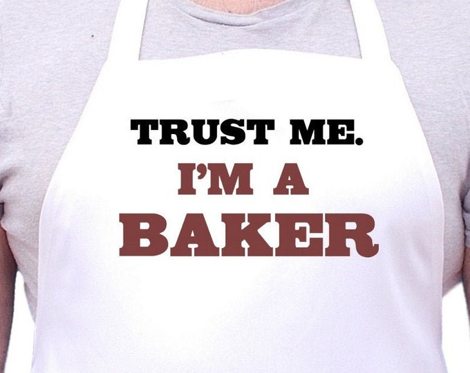 Funny Kitchen Aprons Trust Me I'm A Baker White Cooking Apron