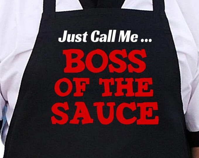Funny Grilling Apron Boss Of The Sauce Black Barbecue Aprons, Extra Long Ties