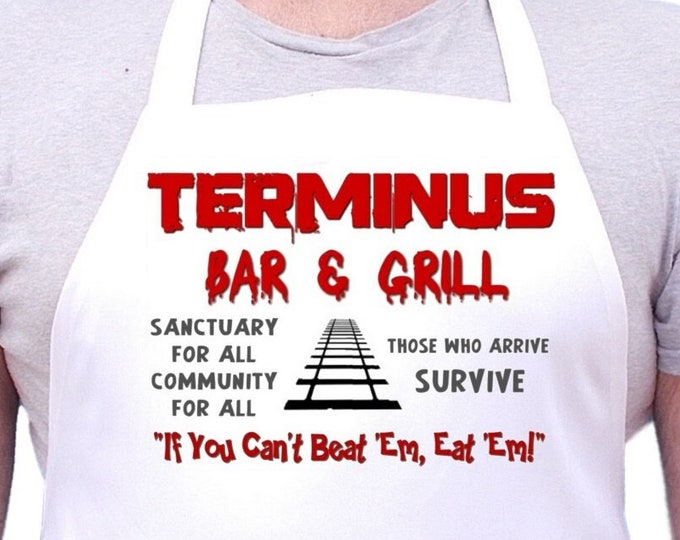 Walking Dead Apron Terminus Bar & Grill Novelty Chef Aprons