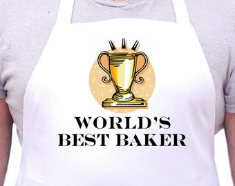 White Kitchen Aprons World's Best Baker Novelty Cooking Apron