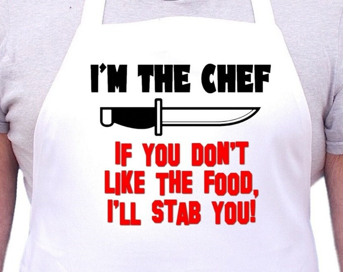 Funny White Cooking Apron I'm The Chef Aprons With Attitude, Humorous Cooking Aprons