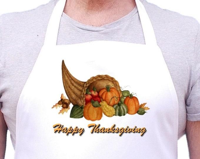 Holiday Apron Happy Thanksgiving White Kitchen Aprons, Thanksgiving Cooking Aprons