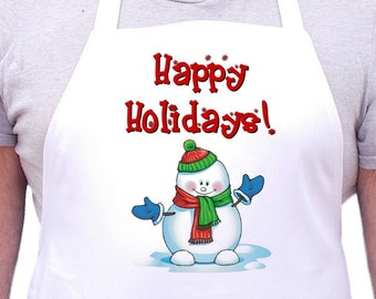 Christmas Aprons Happy Holidays White Cooking Apron, Full Bib Apron With Extra Long Ties