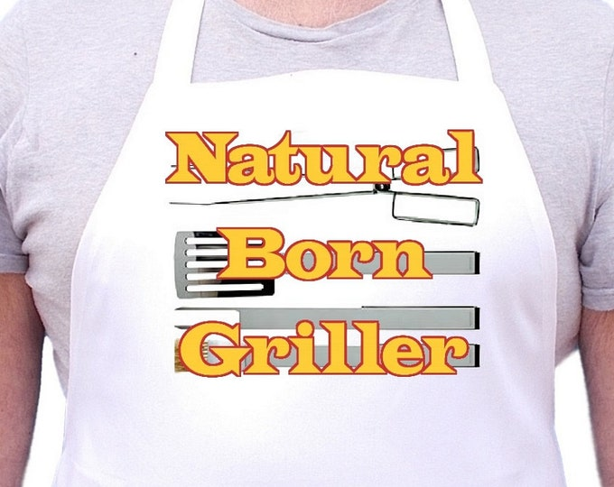 Barbecue Apron Gift Ideas Natural Born Griller White Chef Aprons, Extra Long Ties