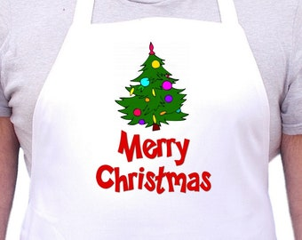 Merry Christmas White Cooking Aprons Holiday Kitchen Apron