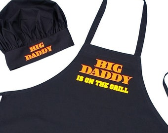Apron and Chef Hat Set Big Daddy Is On The Grill BBQ Gift Idea, Aprons For Men