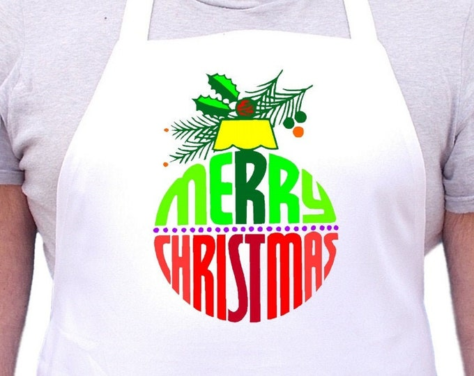 Merry Christmas  Chef Apron, White Holiday Cooking Aprons, Full Bib Apron With Extra Long Ties