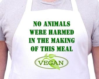 Vegan Aprons, Vegetarian Aprons, Vegan Apron Design, White With Extra Long Ties