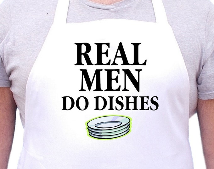 Humorous Cooking Aprons Real Men Do Dishes Novelty Chef Apron, Full Size With Extra Long Ties