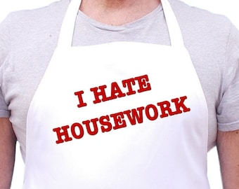 Funny Cooking Apron I Hate Housework Vintage Chef Aprons, Coneheads Halloween Apron