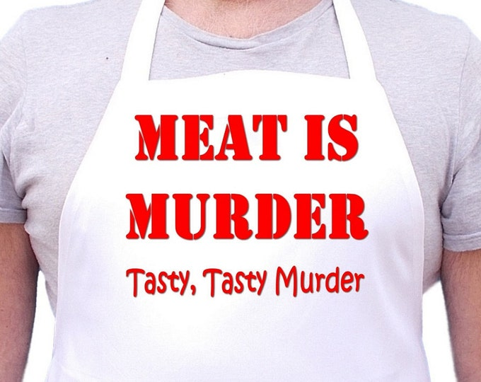 Funny Chef Aprons Meat Is Murder White Kitchen Apron, Cooking Aprons With Extra Long Ties