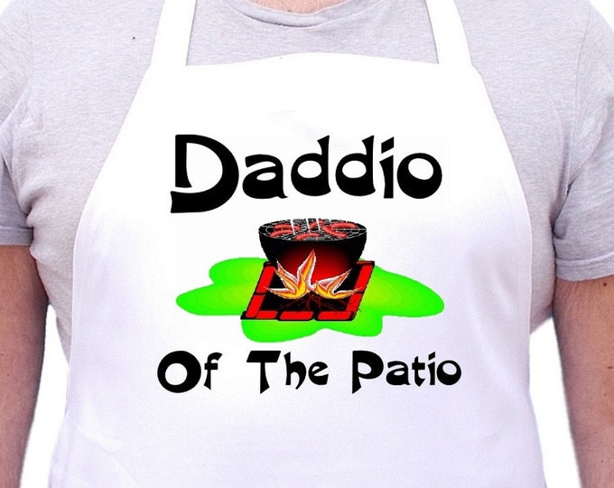 Chef Aprons For Men Daddio Of The Patio Mans Gift Idea, Cooking Aprons For Dads